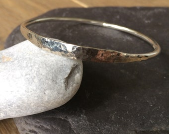 Silver part hammered bangle
