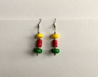 Colorful Ceramic Beads -  Dangling Drop Earrings