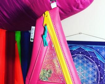 Hot Pink Faux Leather Vinyl Glitter Wristlet / Clutch / Pencil Case
