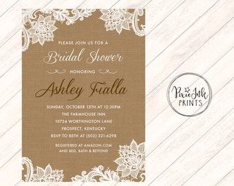 Lace Bridal Shower Invite, Burlap Invitation, Lace BurlapWedding, Lace Invitation, Burlap and Lace Printable Invite