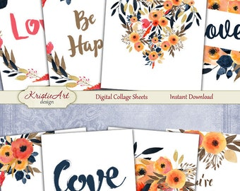 75% OFF SALE Watercolor Valentine's Day - Digital Collage Sheet Digital Cards C140 Printable Download Image Love Atc Card ACEO Cards