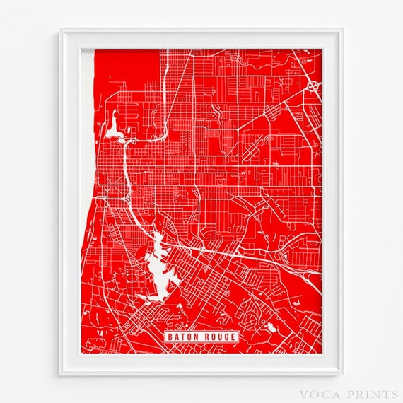 Baton Rouge Print Louisiana Poster Baton Rouge Map