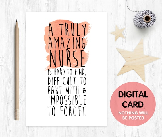 nurse card printable Nurse Gift An amazing nurse is hard to find nurse retirement card nurse appreciation digital download nurse quote