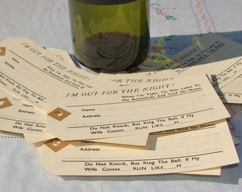 "Novelty ""I'm out for the night"" Return Home Address Labels Circa 1960's x10"