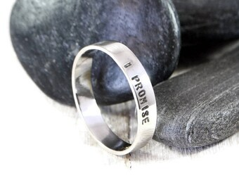 Promise Ring For Him. Sterling Silver Ring. Personalized Wide Ring. Custom Ring. Mens Wedding Band. Engraved Ring. Anniversary Gift For Him