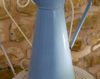 Vintage French Enamel Blue Pitcher or jug