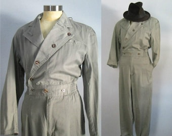 1980s Cotton Khaki Green Jumpsuit Jumper Romper New With Tags // Vintage Military Mechanic