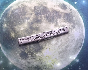 Moon ring, Moon child Moonchild, adjustable pewter stamped ring