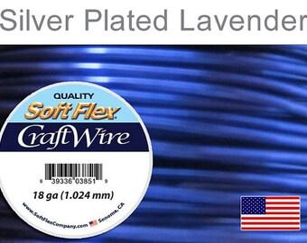 18 Gauge Lavender Soft Flex Wire, Silver Plated, Round, Non-Tarnish, Supplies, Findings, Craft Wire