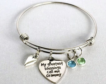 GRAMMY Charm Bangle, My Greatest Blessings Call Me Grammy, Gift for Grammy, Grandmother Jewelry, Grandchildren's Birthstones, Mother's Day