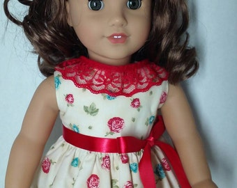 18 Inch Doll Dress - Fit American Girl Doll - Red Roses and Lace- Ready to Ship!!