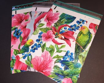 100 10x13 PINK and RED Tropical Flowers and Parrot Assortment Designer Poly Mailers Envelopes Shipping Bags