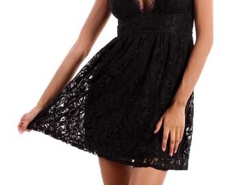 Black Lace V-Neck Dress