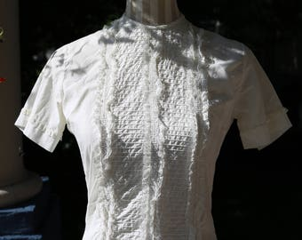 50s White Cotton Lace Blouse