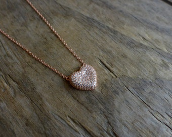Lovely Heart Shape Cubic Zirconia Necklace,925 Sterling Silver,Micro Pave