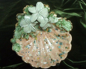 Marianne's Floral Shell Jewelry Tray