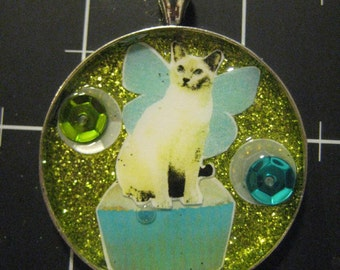 100% Donation Item: Kitchen Faerie Cat Pendant, Cupcakes for Cats, All of the proceeds go to the current selected animal charity