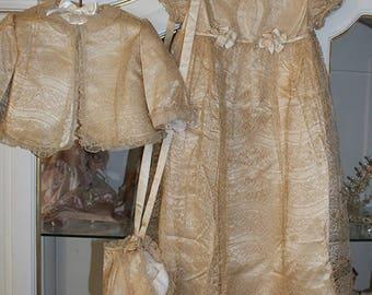 Gorgeous Antique Christening Baptism Ensemble Gown Debenham & Freebody ca.1910