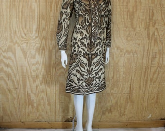 Vintage 1970's Polyester Brown Ocelot Animal Print Front Zip Shift Dress Medium Large M / L