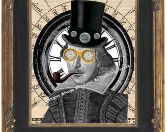 Steampunk William Shakespeare Art Print 8 x 10 - in Victorian Steampunk Gear