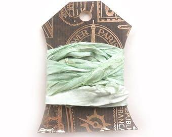 Silk Sari Ribbon, Green Sari Ribbon, Reclaimed Silk Ribbon, Jewelry Ribbon, Craft Ribbon, Vintage Ribbon, Sari Ribbon, 2 Yards, Mint Green
