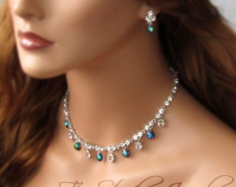 Peacock Blue Teal Green Crystal Necklace and Earring Set - NILA