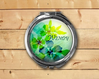 Personalized Green Floral Compact Mirror, Pill Box, Ornament, Pendant, or Key Fob, Gift for Women, Bridal Party, Party Favors