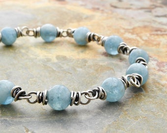 Boho Aquamarine Birthstone Bracelet for Women - March Birthday - Aquamarine Jewelry - Blue Layering Bracelet - Sterling Silver #4755