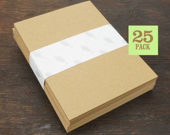 Blank Notecards with Envelope, Size A2, Kraft Brown Cards and Envelopes, Recycled, Blank Envelopes, Blank Cards. 4.25 x 5.5 In. Set of 25.