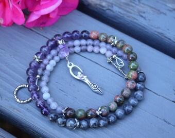 Pregnancy Tracking Necklace - Pick your charm - Wild Flowers - amethyst, labradorite, unakite