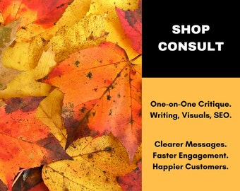 Etsy Consultation - One-on-One Etsy Shop Critique - Writing Service - Etsy Critique - Etsy Copywriting - Etsy Copy Writer - Ask for 50% Off!