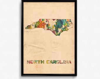 North Carolina Map Poster Watercolor Print - Fine Art Digital Painting, Multiple Sizes - 12x18 to 24x36 - Vintage Paper Colors Style