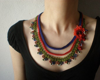 Tagetes Patula ... Beaded Crochet Necklace - Flowers - Crimson Red Burgundy Indigo Blue Green - Beadwork - RESERVED