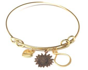 Adjustable bangle bracelet . Custom bangle bracelet Charm Bracelet . Personalized Gift .sunflower bracelet . Flower Bracelet . Wire Bracelet