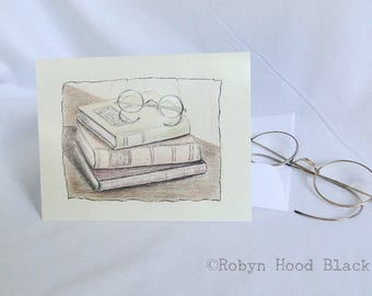Vintage Books with Reading Glasses Single Card with Optional Mat