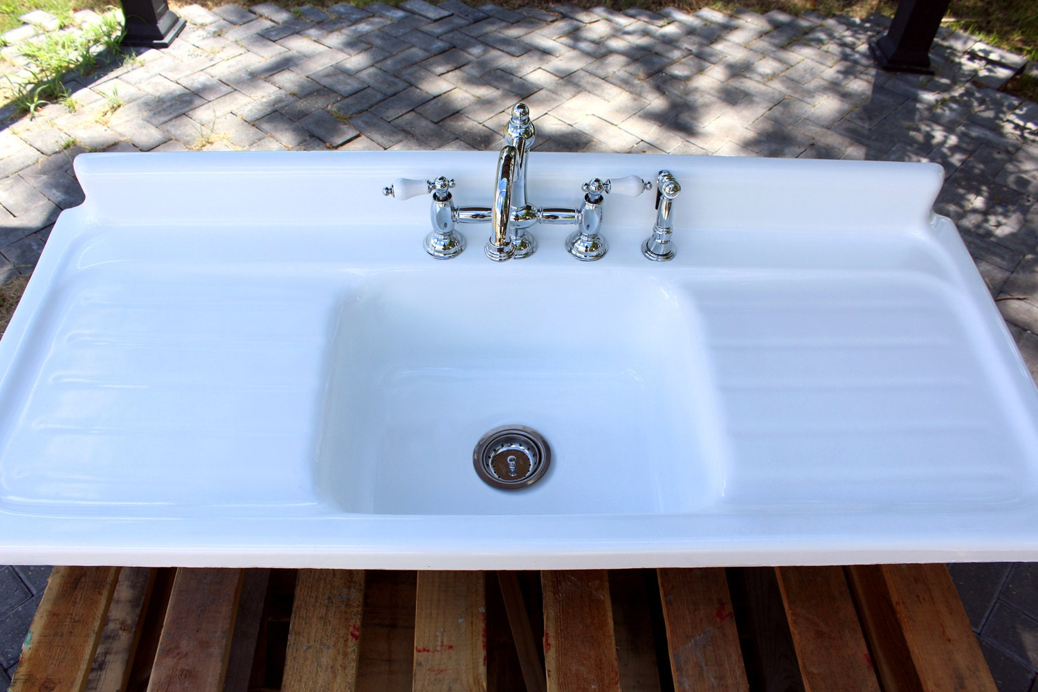 Large 4.5\' Refinished 1951 Farm Sink American Standard Double ...