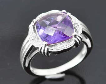 Amethyst Ring, 3.5 ct, Purple, Cushion Cut, Birthstone Ring, February, Gemstone Ring, Sterling Silver Ring, Solitaire Ring, Statement Ring
