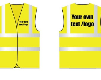 Hi Viz Vest Yellow Personalised Your Own Text Front And Back Safety Vest Reflective Site Work Clothing Black Text Workwear