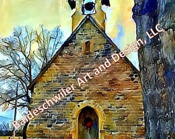 Quarry Chapel, Gambier, OH: matted photographic print