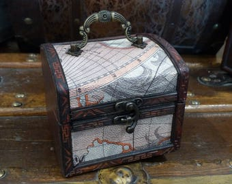 Nautical Jewelry Box Treasure Map Chest with Gears Steampunk Wooden Container Home Decor