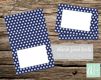 Printable Fourth of July Food Table Tent Cards, Navy with White Stars: Instant Download, 2 sizes