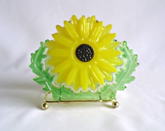 Vintage Lucite Napkin Holder Yellow Flower Power