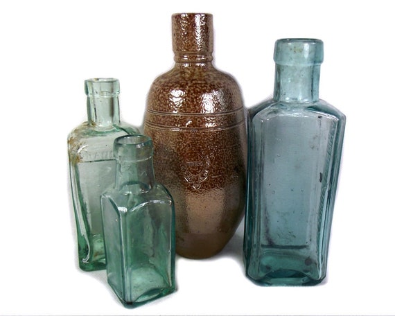 Antique Aqua Glass and Vintage Stoneware Bottle Collection