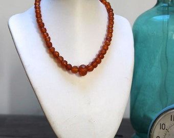 SALE Antique vintage faceted baltic amber necklace