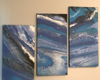 Purple and teal abstract painting