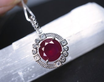 Large Ruby Necklace Sterling Silver Lab Ruby July Birthstone High Quality Solitaire Red Ruby CZ Pendant