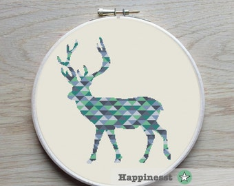 cross stitch pattern deer, blocks pattern, modern cross stitch, PDF,  ** instant download**