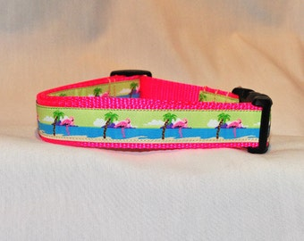 "Pink Flamingo Dog Collar for Large and Medium Dogs 1"" wide"