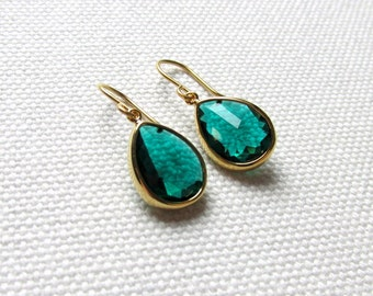 Emerald Green and Gold Earrings Minimalist Jewelry Dangle Earrings Green Crystal Gift For Her