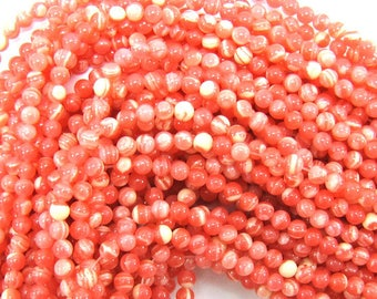 "4mm synthetic pink rhodochrosite round beads 15"" strand 31539"